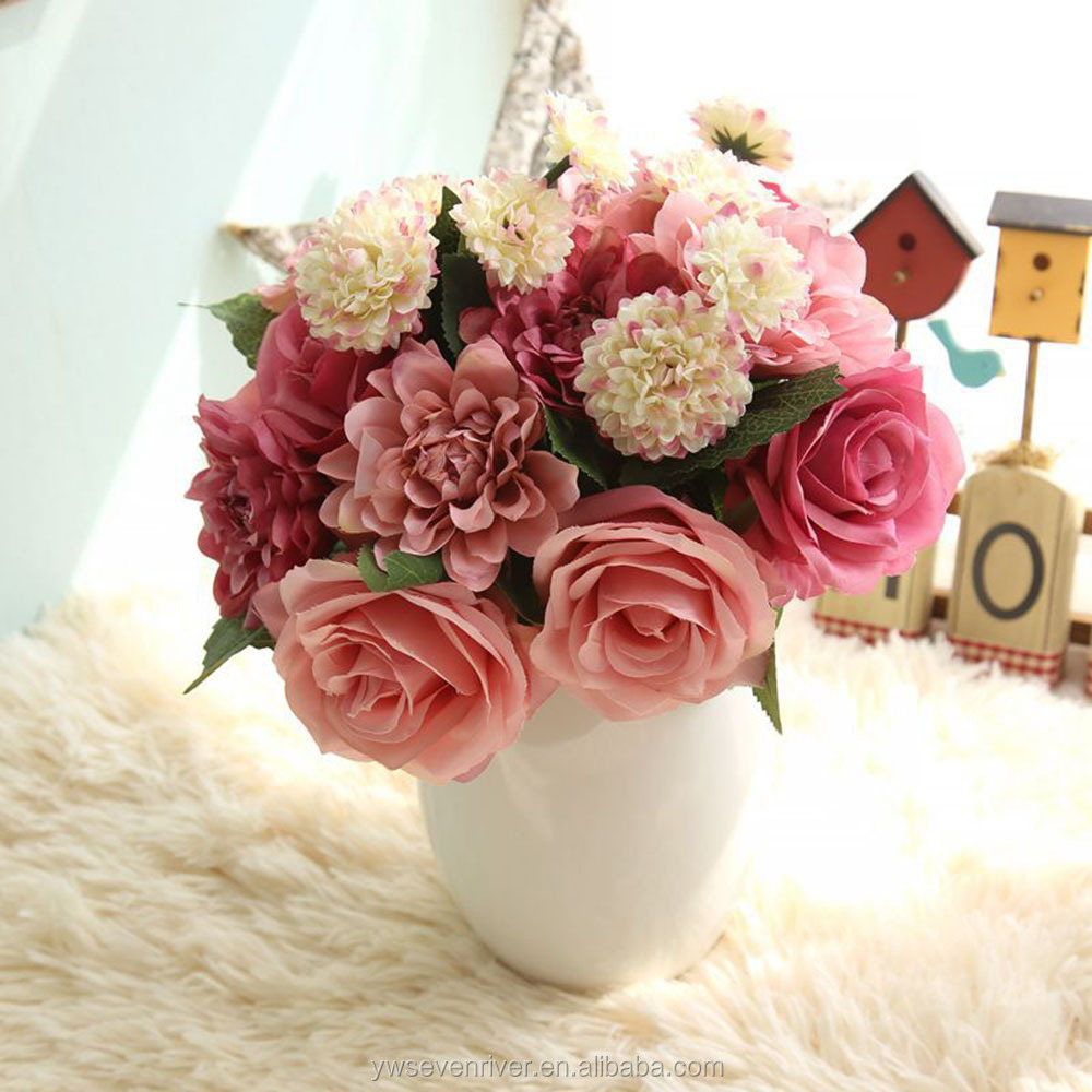 Silk Flower Wedding Bouquet Roses Dahlias Artificial Flowers Fall