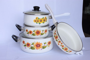 7PCS white pot with decal hand painted wholesale enamelware