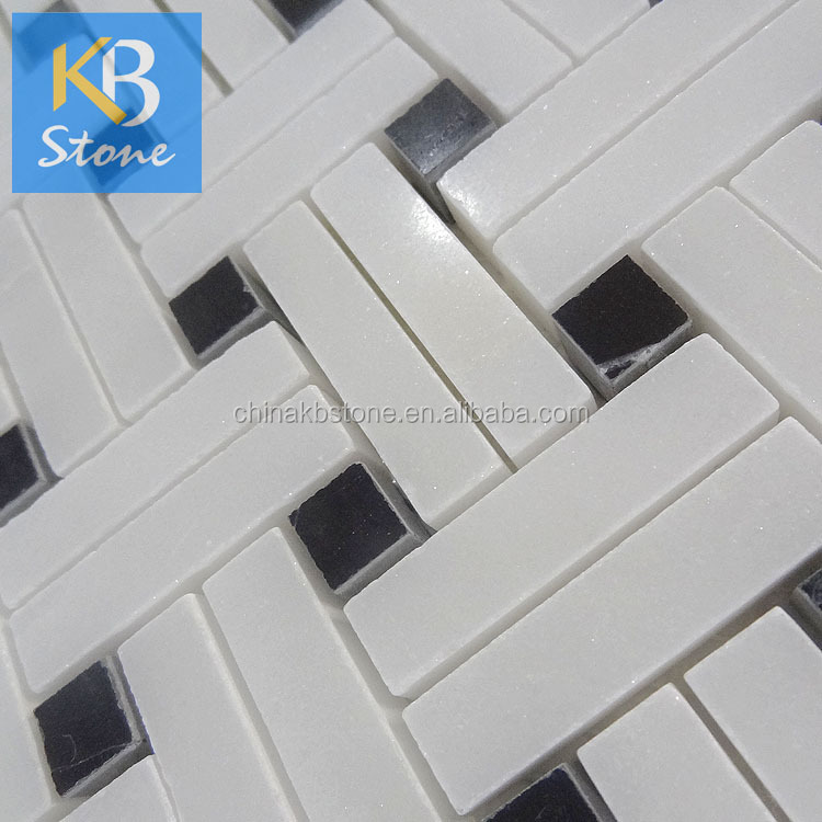 Home decoration natural stone white marble mosaic basketweave style