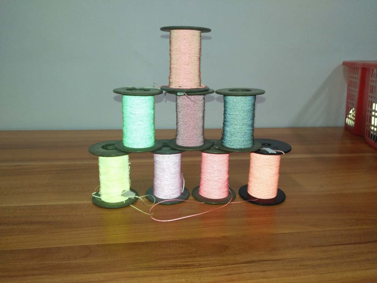 double side iridescent reflective thread for knitting