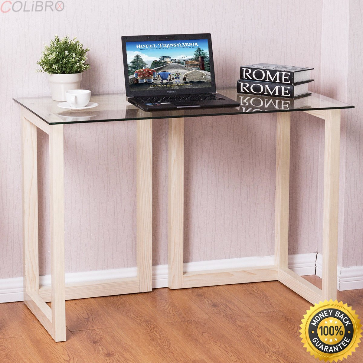 """COLIBROX--44"""" Tempered Glass Top Console Desk Sofa Accent Table Wood Entryway Furniture. accent tables cheap. solid wood sofa table. accent living room tables. modern wood console table."""