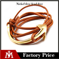 2017 Wholesale fashion jewelry 316L stainless steel gold plated anchor bracelet handmade brown real leather bracelet
