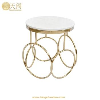 Luxury Koket Furniture White Round Marble Gold Base Kiki Side Table Product On Alibaba