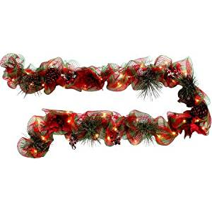 get quotations holiday time christmas decor red berry 9 lighted mesh garland