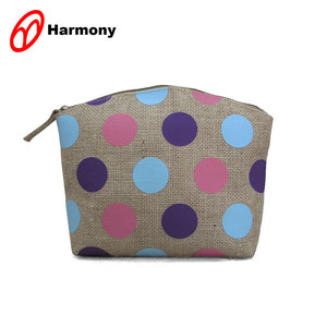 Promotion colorful dot printing jute cosmetic bag