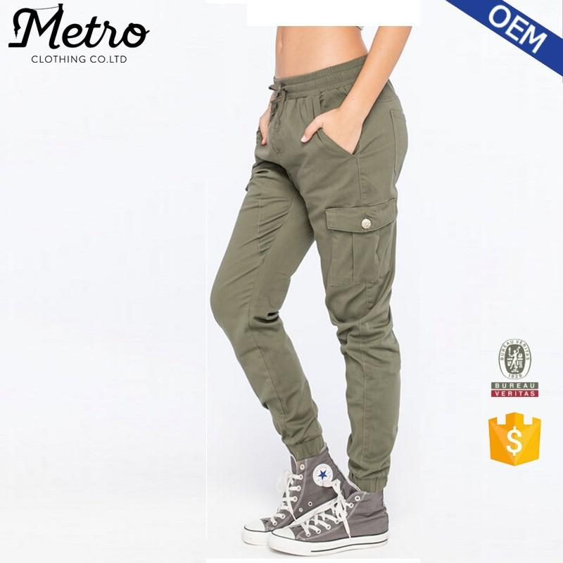 Oem Fashion 2015 Jogger Pants Women Olive Twill Joggers - Buy ... 48c3e5079f6