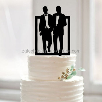 Modern Grooms Silhouette Gay Wedding Cake Toppers For Men Gift