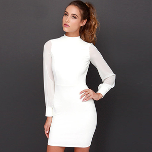 Elegant Chiffon Long Sleeve 2 Colors Sexy Backless Mini Dresses Women Summer Dress