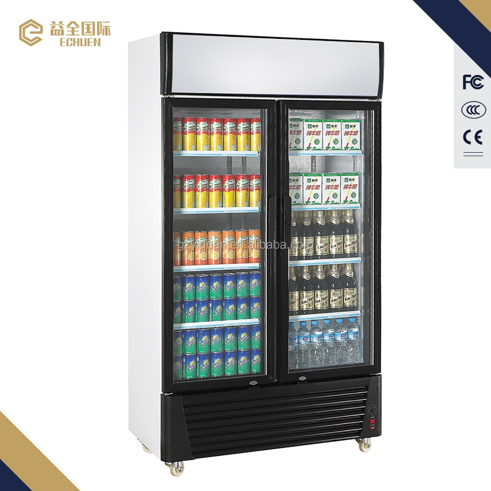 1300l Glass Door Supermarket Refrigerator Display Showcase