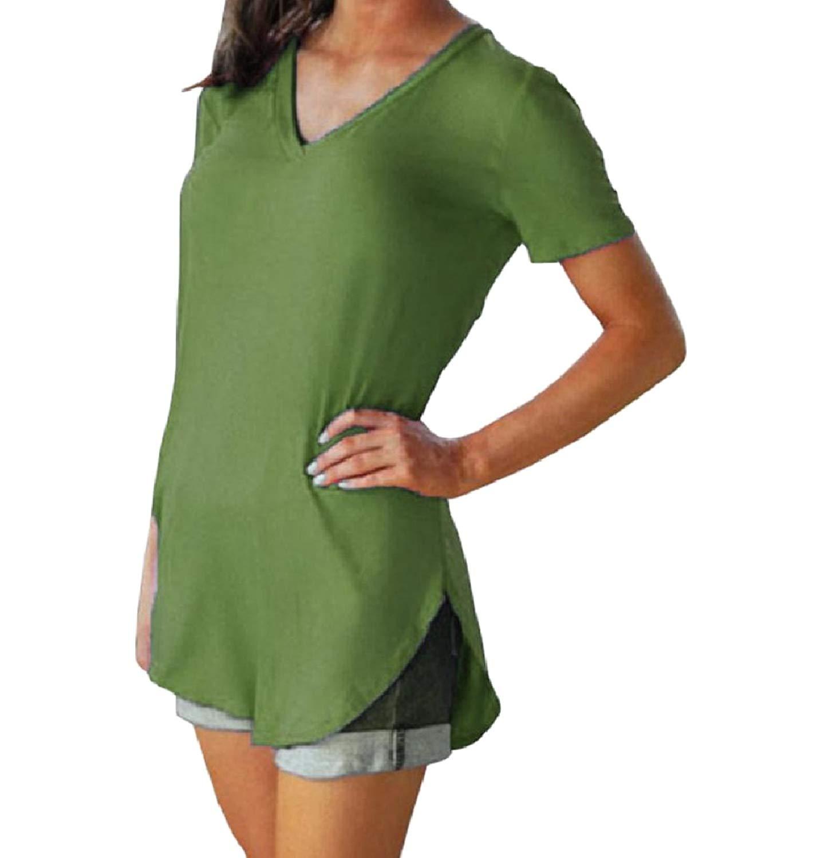 Zimaes-Women Weekend Short-Sleeve Plus-Size V-Neck Pure Colour T Shirt