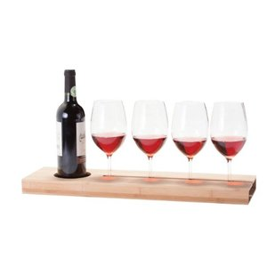Bamboo Longboard Wine Glasses Serving Tray