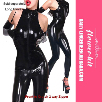 Women Halter Sleeveless Zipper Sexy Faux Leather Catsuit Wholesale