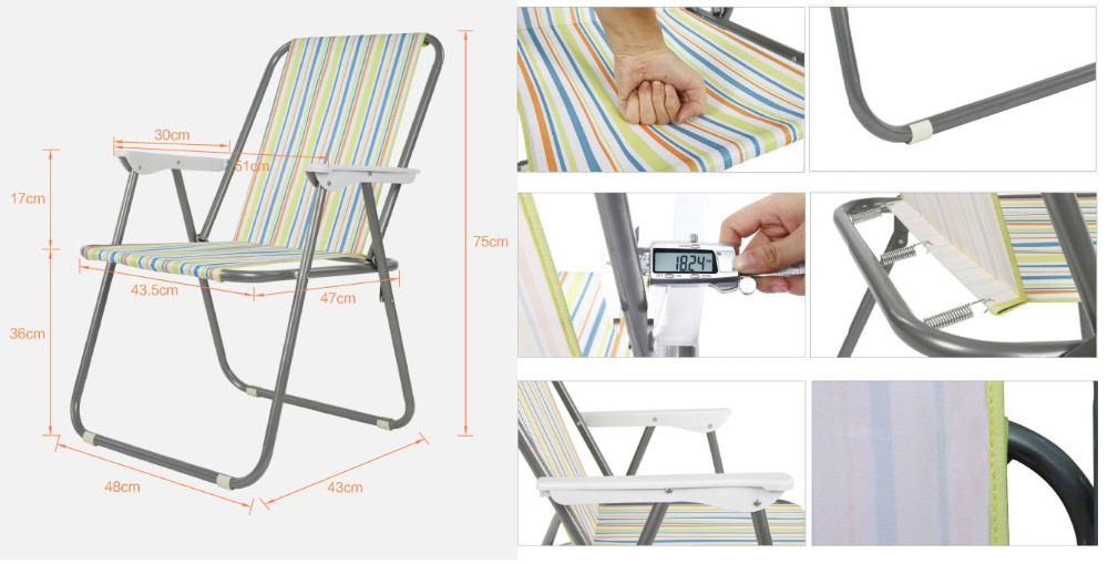 Solid or stripe T/C cotton 200g folding garden spring chair wholesale,modern folding spring beach chair oem factory