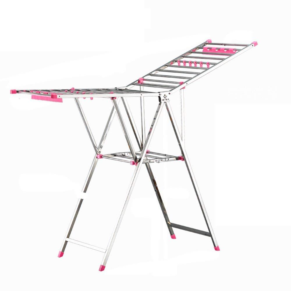 Drying clothes rack diaper racks/floor towel racks/folding, multi-function, stainless steel drying racks (Color : Pink)