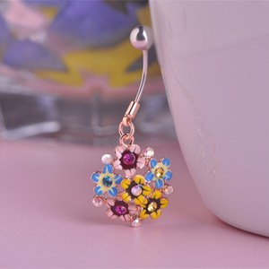 Wholesale Enamel Flowers Navel Belly Button Rings Rose Gold Crystal Hydrangea Bikini Body Piercing Jewelry