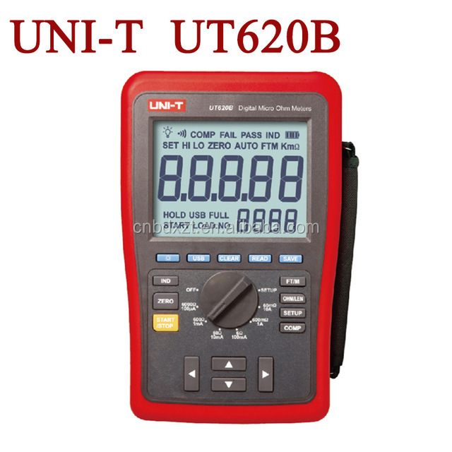 Hi-Accuracy 0.25% Kelvin Four-Wire DC Low Resistance Wire Length Tester Micro Ohm Meter Min. Resolution 1uOhm USB Li-Bat. UT620B