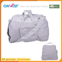 Cheap eco-friendly large waterproof nylon folding sports bags with long strap
