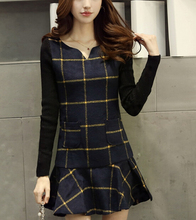 W31120H 2015 fashion long sleeve wool dress v neck women tartan dress 2015