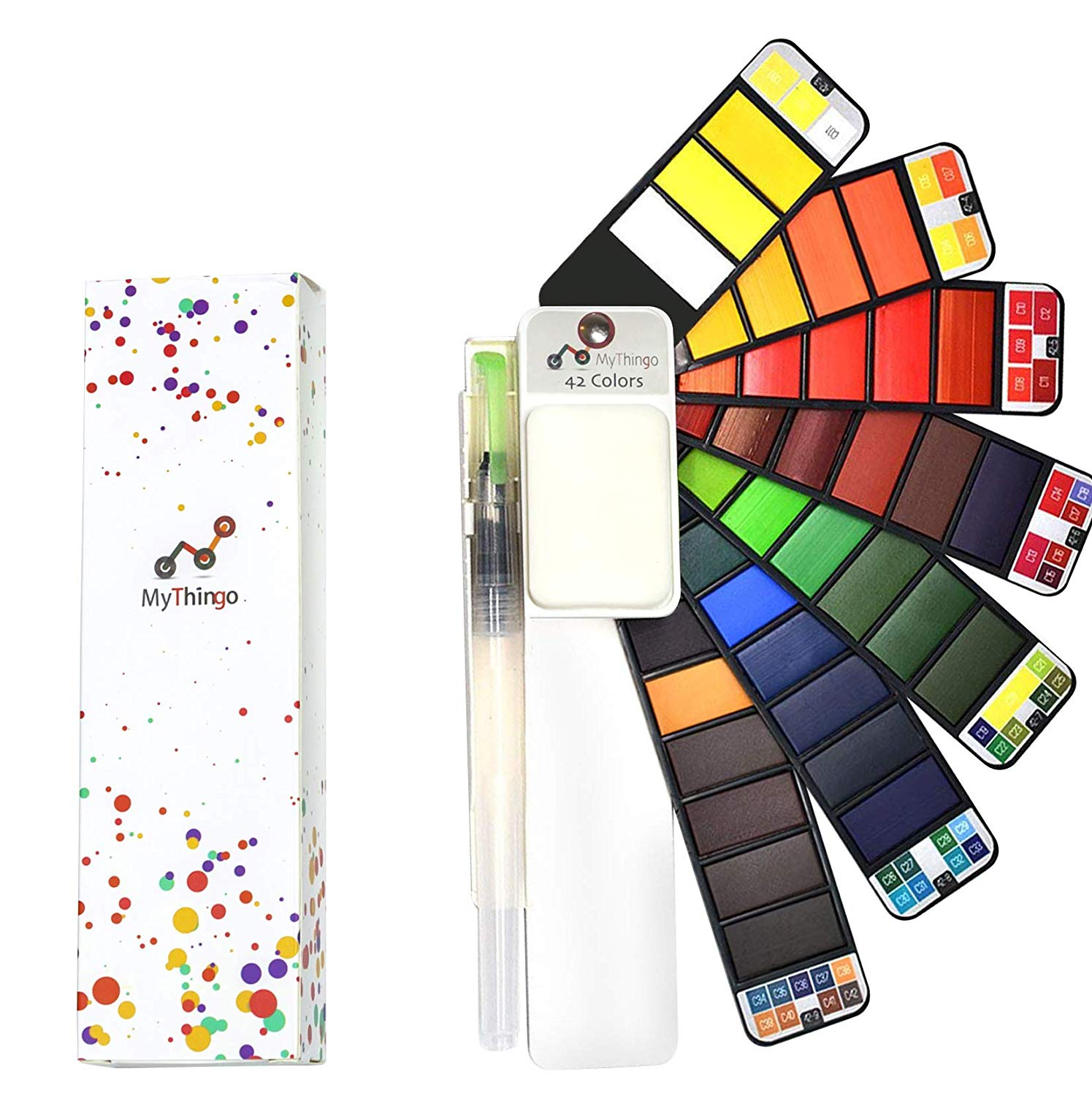 Watercolor Paint Set, Artist Foldable and Portable Pocket Travel Kit with Water Brush for Outdoor Painting and Sketching | Professional Art Supplies for Adults, Kids | Palette with 42 Assorted Colors