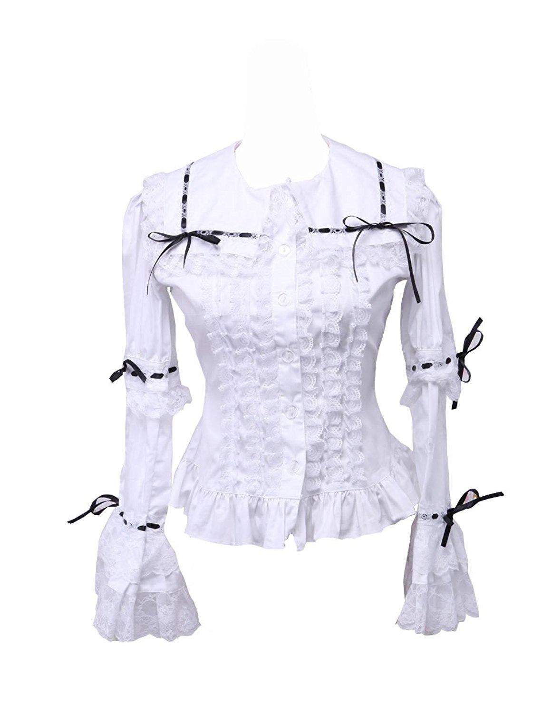 8279e87538dcbd Get Quotations · antaina White Cotton Black Lace Ruffle Victorian Sailor  Collar Shirt Blouse