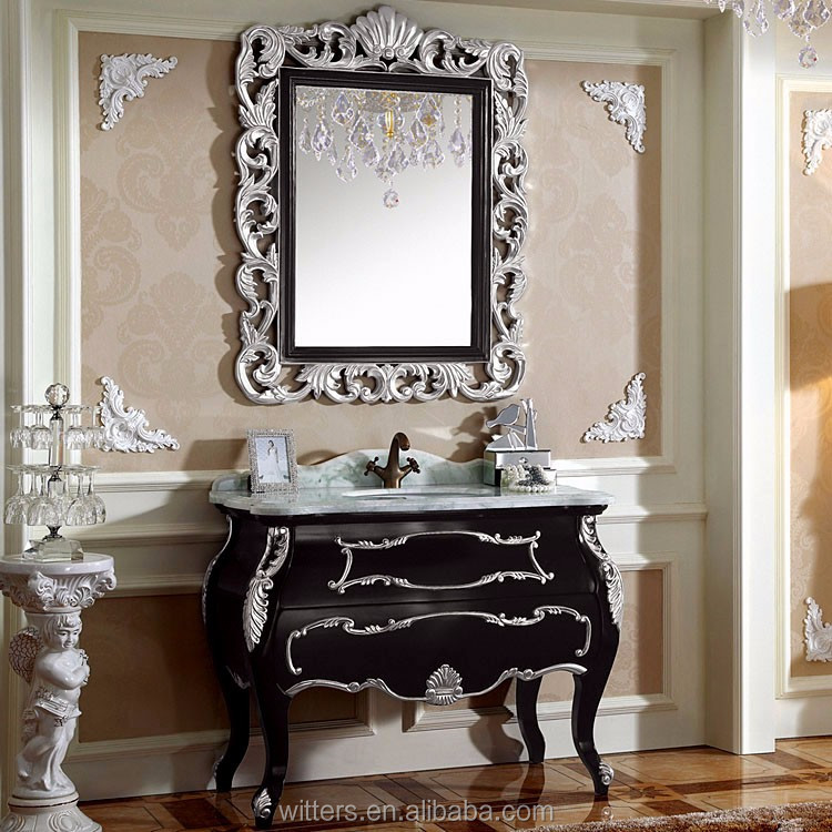 Luxury Unique Antique Black Bathroom Vanity Cabinet WTS257 - Luxury Unique Antique Black Bathroom Vanity Cabinet WTS257, View