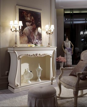 Ym025 Elegant White Neoclassic Bedroom Living Room Fireplace