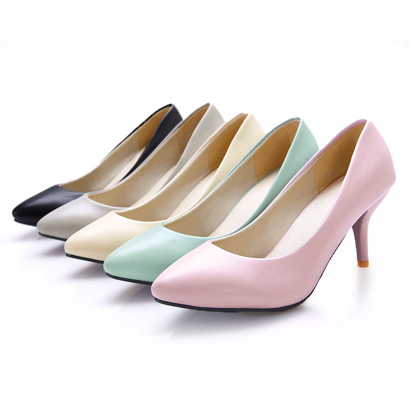 7cde7cd6138b Get Quotations · ARMOIRE New Hot Sweet Black Pink Beige Light Blue Gray  Women Nude Pumps Ladies Med Heels