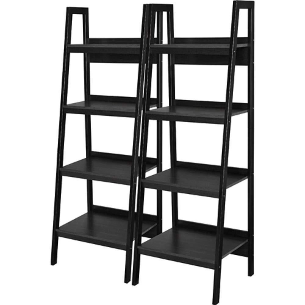 MyEasyShopping Set of 2 - Black 4-Shelf Modern Ladder Style Bookcases Storage Bookshelf Wood Shelves