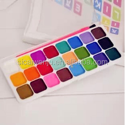 24 colors semi dry watercolor paint powder set
