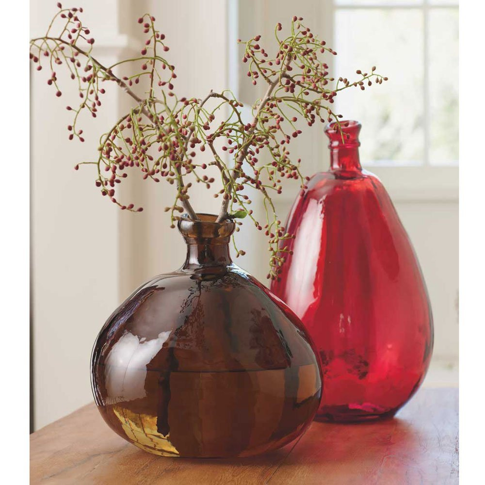 Cheap green recycled glass vases find green recycled glass vases get quotations chocolate red recycled glass balloon vases set of 2 in tall askew reviewsmspy
