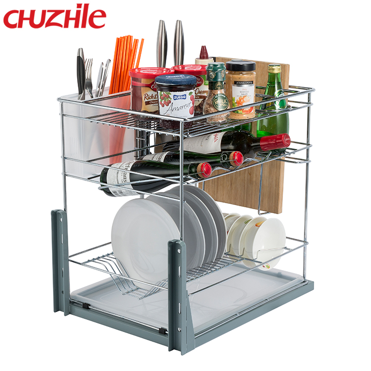 Wire Storage Home Gift Kitchen Cabinet Drawer Basket in Chrome Plating with Slide