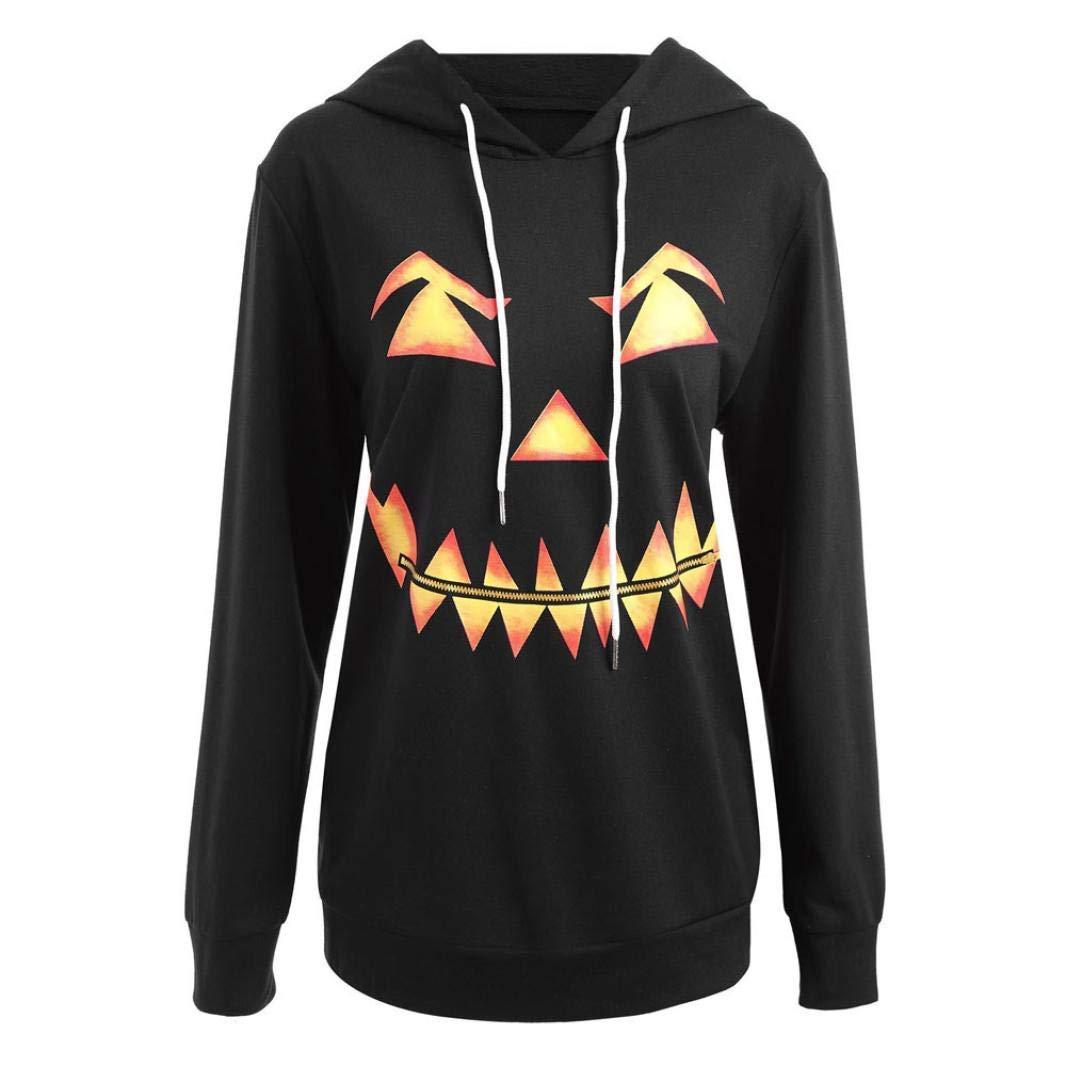 Clearance Sale! 2018 Halloween Hoodies Sweatshirt for Teen Girls Iuhan Women Hooded Sweatshirt Halloween Evil Pumpkin Face Print Drawstring Hoodie Long Sleeve Tops (M, Black)