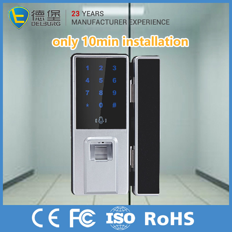 Commercial Electronic Lock For Glass Door With Fingerprint Scanner