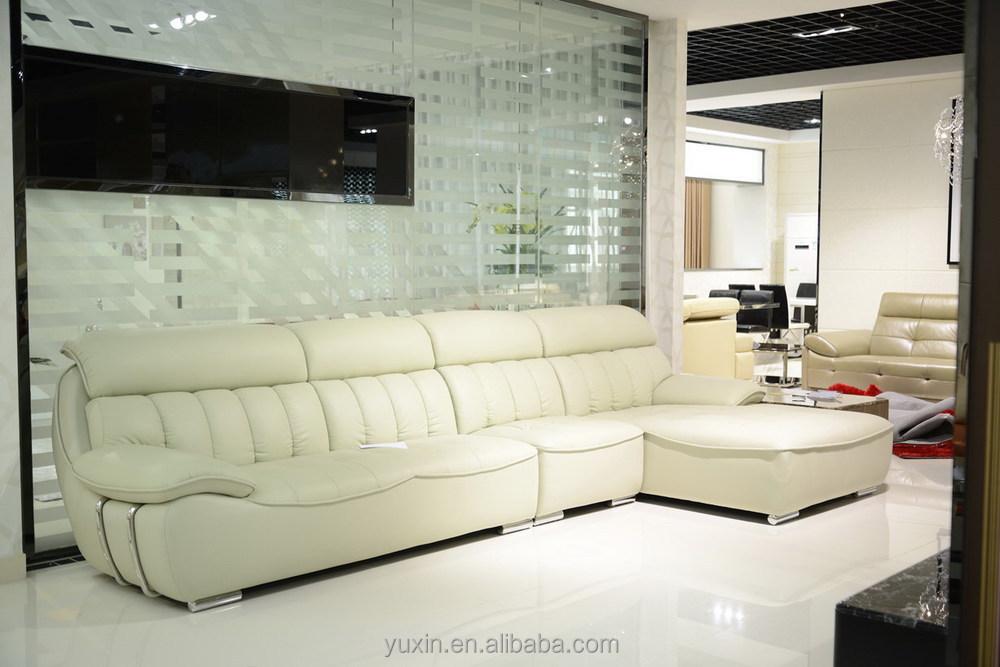 Exotic Living Room Cream Leather Corner Sofa FurnitureModel