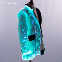 2019 luminous fiber optic fabric led slim fit dinner wedding prom formal suit kid boy blazer children suit child clothes