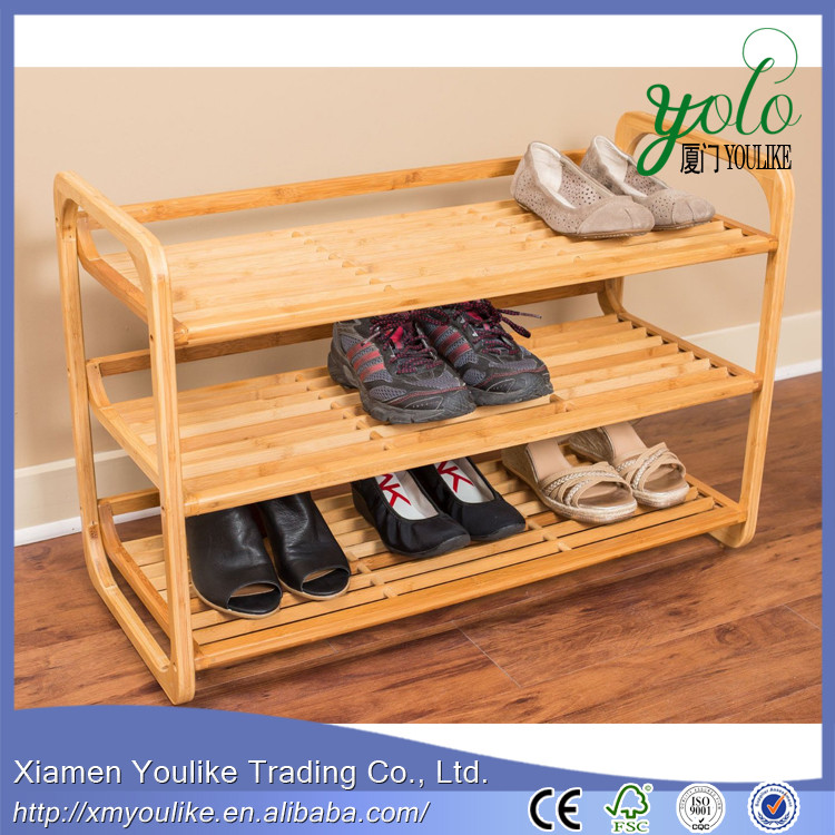 Hot sell cheap bamboo wooden shoe rack display designs wood