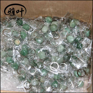 Bulk Wholesale Natural Green Aventurine Tumbled Stone Keychain