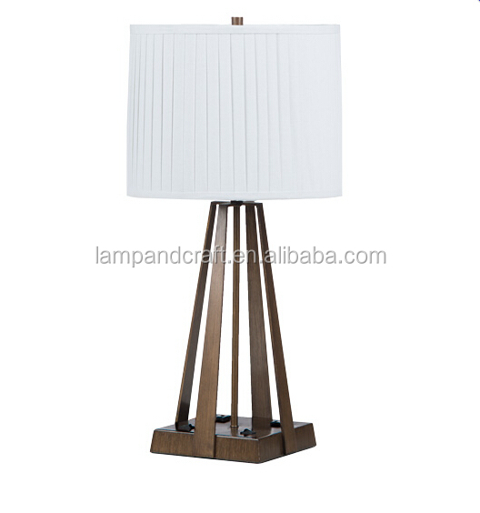 Antique Brass Base Clear Glass Tube Table Lamp With Power Outlet ...