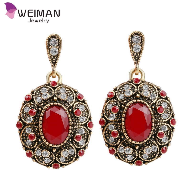 Vintage Red Stone Round Shape Pendant Jewelry Crystal Drop Earrings