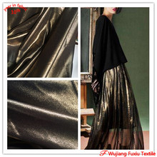 fashion gold silver coated shining metallic chiffon fabric for lady dress
