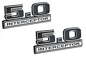 "5.0 Liter Engine Police Interceptor Emblems in Chrome & Black - 5"" Long Pair"