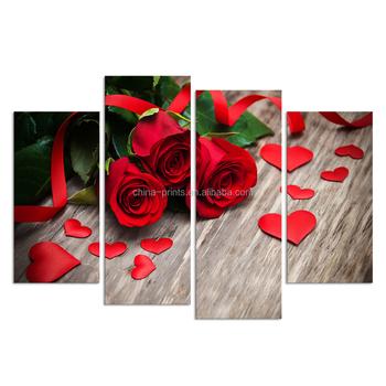 4 Piece Kanvas Seni Cinta Gambar Poster Mencetak Bunga Gambar