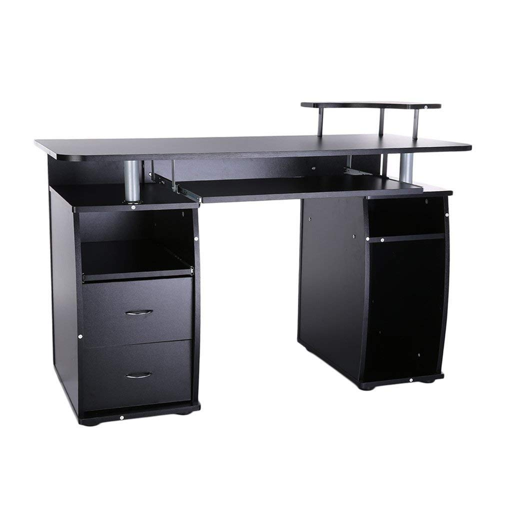 Coldcedar Contemporary Home Office Espresso Computer Desk Table with Pull-Out Keyboard Tray and Drawers Black
