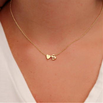 Tiny 금 은 첫 글자 Name 숨 막히게 Necklace 26 Letters & Heart 펜 던 트 Necklace Women Collares 콜리어 Gift 보석