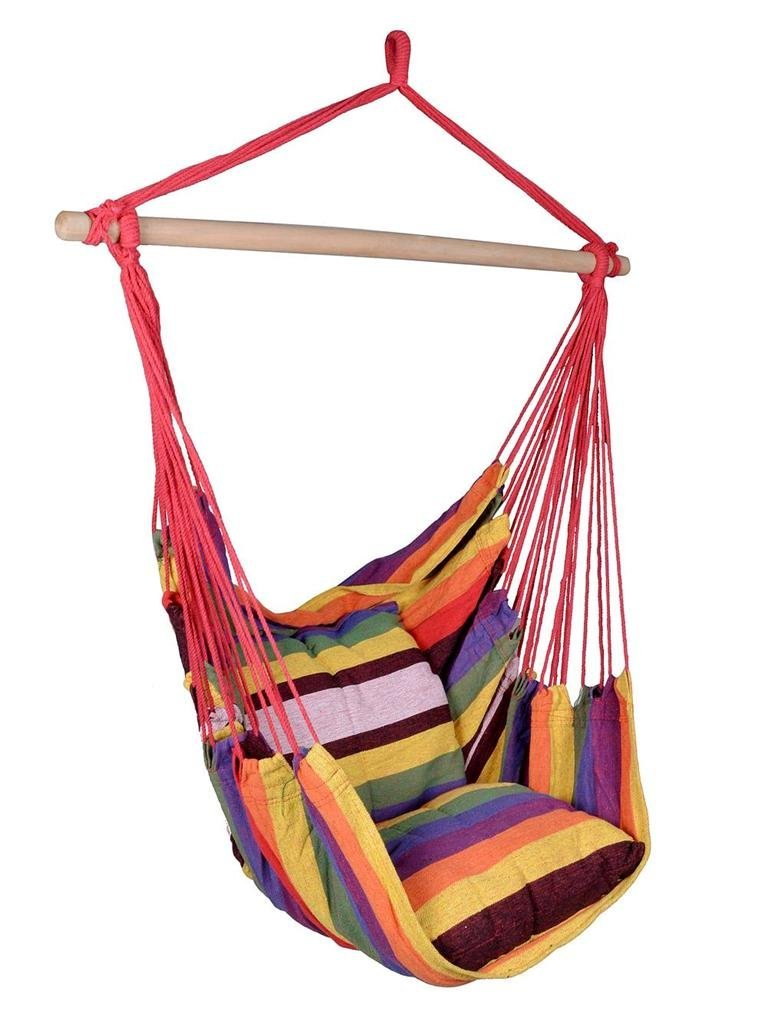 Get Quotations · Hammock Hanging Rope Chair Air Outdoor Swing Yard Patio  Tree Cotton Solid Wood