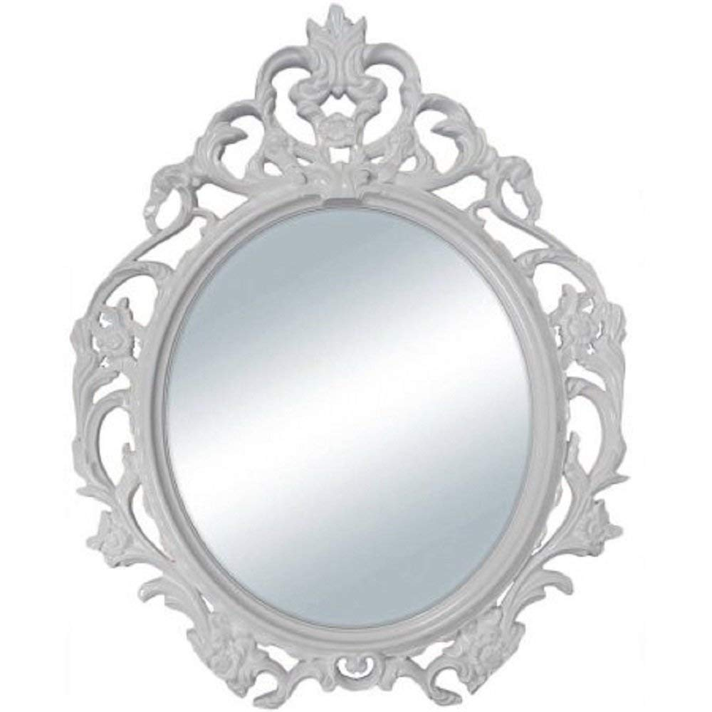 Baroque Style Oval Wall Mirror in (White)