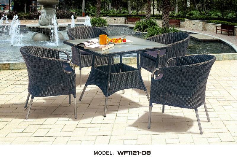 WF1121-08 garden rattan and metal dining chair set