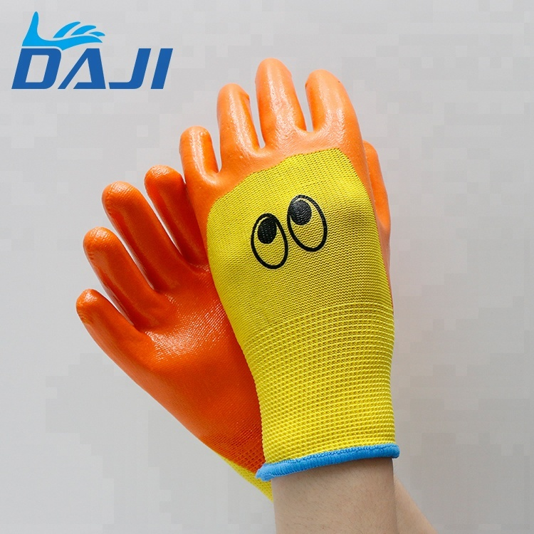 Kids colored cute polyester latex nitrile gloves