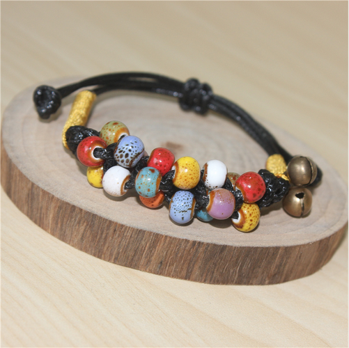 National wind retro flower glaze bead wax rope woven best friend gift ceramic bracelet with bell