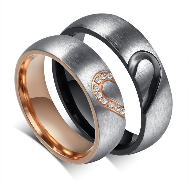 2016 Handmade Couple Rings Heart Shape Matching Stainless ...
